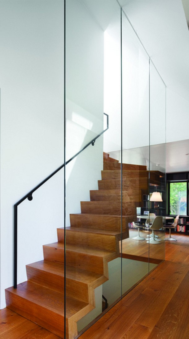 A glass-surrounded, cantilevered stair. - PAUL WARCHOL