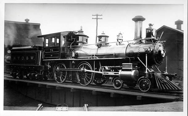 """A """"Mother Hubbard,"""" or center-cab steam locomotive from the New York, Ontario & Western Railway. - COURTESY OF CORNELL UNIVERSITY LIBRARY"""