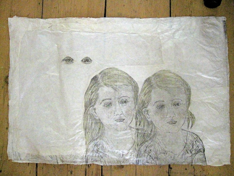 "A piece by Kiki Smith shot in her Catskill studio: Little Sisters, ink and colored pencil on Nepalese paper, 20.5"" x 30.25"", 2010."