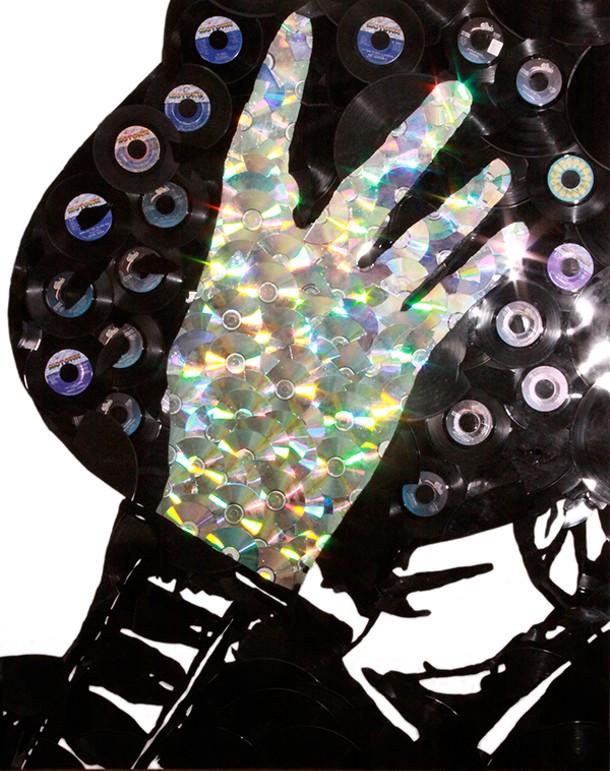A portrait of Michael Jackson from Greg Frederick's Vinyl Pop Art series.