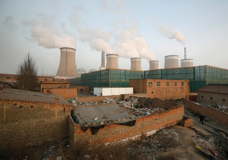 A power plant on the outskirts of Datong, Shanxi province, in china.