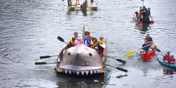 A shark themed, handcrafted boat in the Wallkill River at the New Paltz Regatta - COURTESY OF THE NEW PALTZ REGATTA