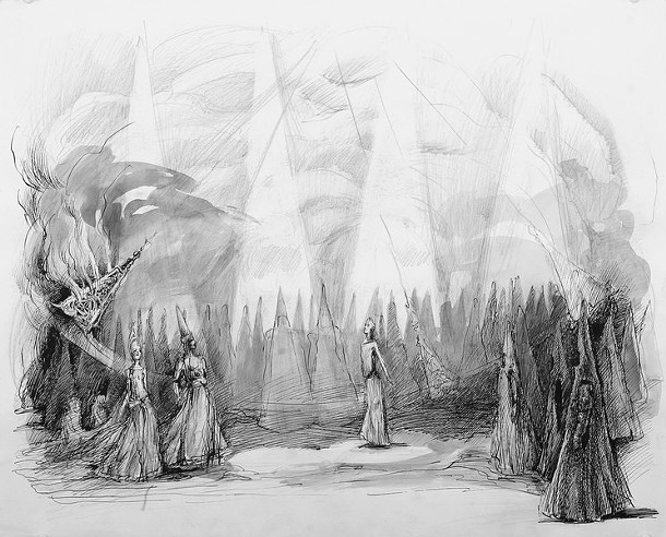 A sketch of the set design for King Roger at Bard Summerscape.