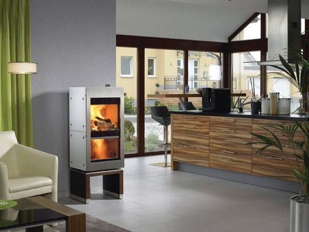 A Wittus Twin Fire, a 93-percent efficient woodstove with a second firebox.