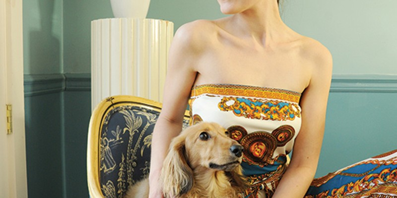 Beauty & Fashion Spring Photo Shoot Abra Duprea wears a Cesare + Lili Versace-print inspired jumpsuit (with Hans the dog).