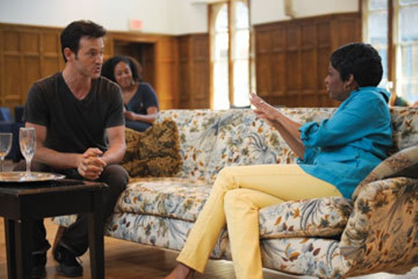 "Adam Rothenberg, de'Adre Aziza, and Adriane Lenox rehearse ""We Are Here"" by Tracy Thorne, directed by Sheryl Kaller, a mainstage production at Powerhouse Theater this summer."