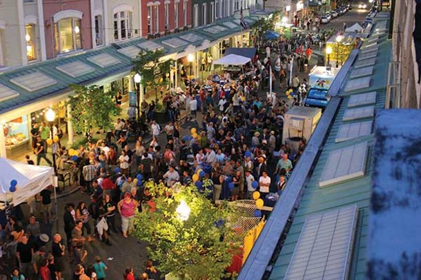 Aerial shot of Wall Street during the block party.