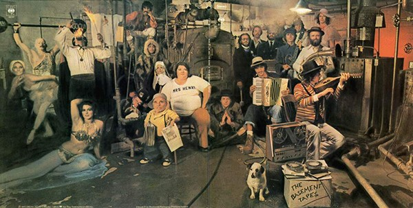 Album cover for The Basement Tapes, a collaboration between Bob Dylan and the Band.
