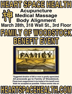 All proceeds to Family of Woodstock, come get treated on March 28th.