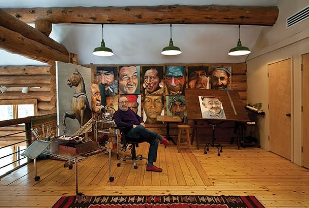Allan Skrilloff in his second-floor painting studio, which overlooks the living room/dining room. - DEBORAH DEGRAFFENREID