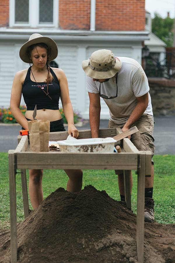 Amanda and Alex excavate and sift the earth for an archaeological dig at Historic Huguenot Street. - THOMAS SMITH