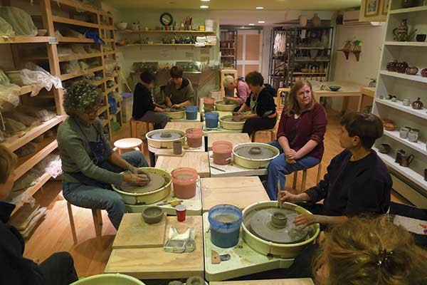 An adult class at Hudson Valley Pottery & Moring Studio in Rhinebeck.