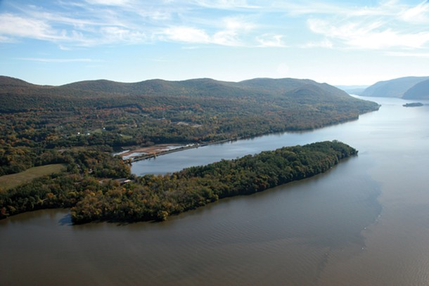 An arial photograph of Denning's Point by Patricia Dunne, provided by the beacon institute for rivers and estuaries.