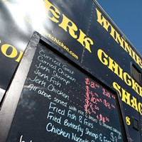 Hudson Valley Food Truck Slideshow An enticing menu board outside of the Winnie's Jerk Chicken truck. Roy Gumpel