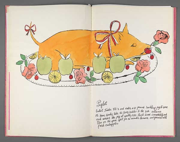 Andy Warhol, Wild Raspberries, 1959, bound artist's book (cookbook), litho-offset, hand coloring throughout with tissue overlays. - COURTESY OF WILLIAMS COLLEGE MUSEUM OF ART, GIFT OF RICHARD F. HOLMES, CLASS OF 1946. © 2015 THE ANDY WARHOL FOUNDATION FOR THE VISUAL ARTS, INC./ARTISTS RIGHTS SOCIETY (ARS), NEW YORK.