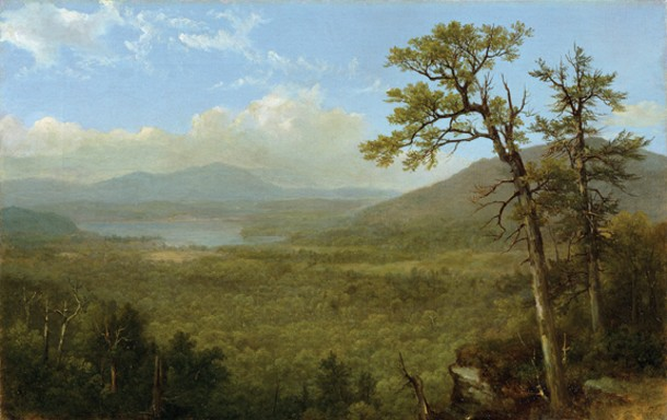 """Asher Brown Durand's Adirondack Mountains, NY, (1870), part of """"the Hudson River to Niagara Falls"""" exhibition at the Dorsky Museum."""