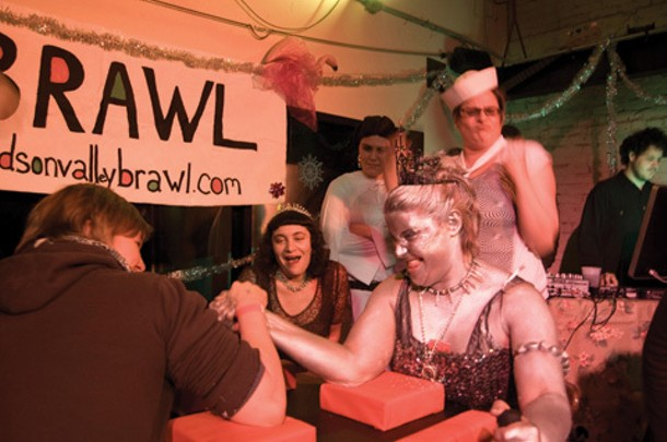 Aspiring wrestler Tara Null faces off (and wins!) against the Iron Maiden at the Huson Valley BRAWL Ball on December 18 at Keegan Ales in Kingston.