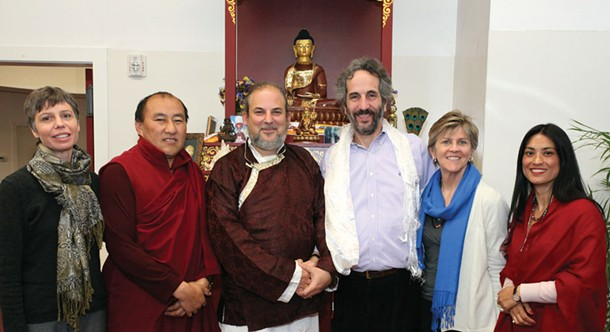 At the Tibetan Center in Kingsto on March 3, the High Oracle of Bhutan and Lama Rangbar Nyima Ozer offered teachings and visionary prophecies.The Oracle (Lama Chokhyong) and Lama Rangbar Nyima Ozer with Steve Drago, head of the Tibetan Center and others. Photo: Kathleen O'Donnell.
