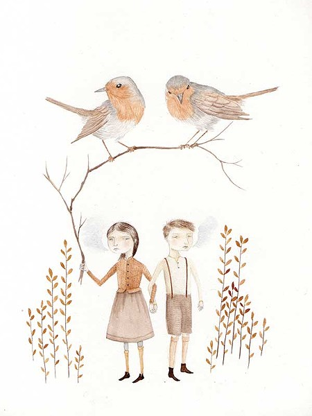 Babes in the Wood, Julianna Swaney, Watercolor and pencil on paper, 2012