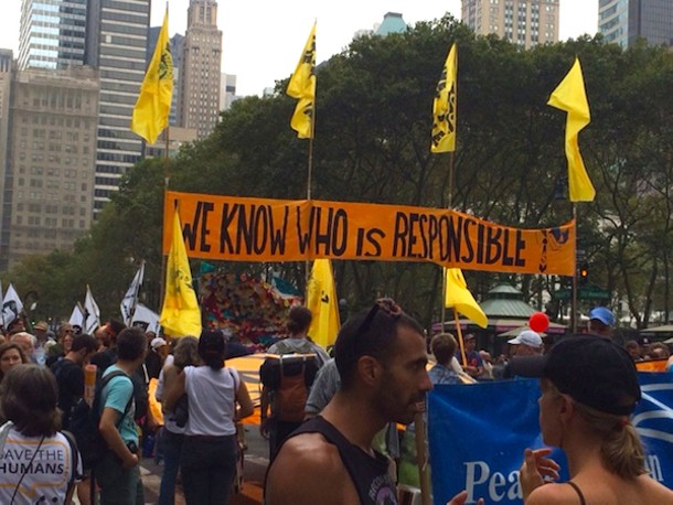 Banner in the September 21 People's Climate March in Manhattan. - AMANDA PAINTER
