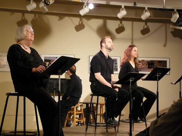 """Barbara McMahon Scanlan, Jack Kroll, Michael Frohnhoefer, and Janet Nurre performing """"We Cannot Know the Mind of God"""" by Mikhail Horowitz at Unison in 2008. - STUART BIGLEY"""