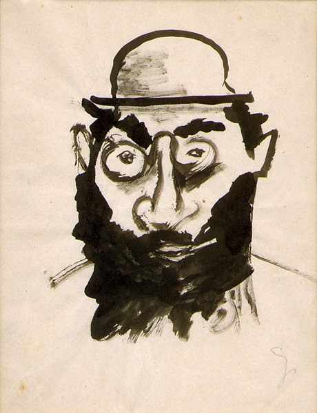 bearded man in small hat, E. E. Cummings, ink on paper