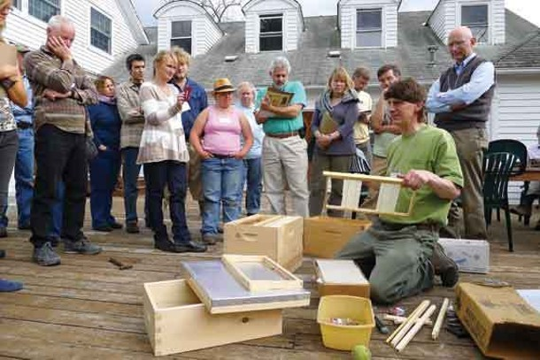 Beekeeper Chris Harp teaching a workshop at The Pfeiffer Center for Biodynamic Agriculture in Chestnut Ridge.