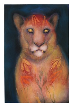 Big Cat: Mountain Lion with Foliage Fur, a painting by Jan Harrison.