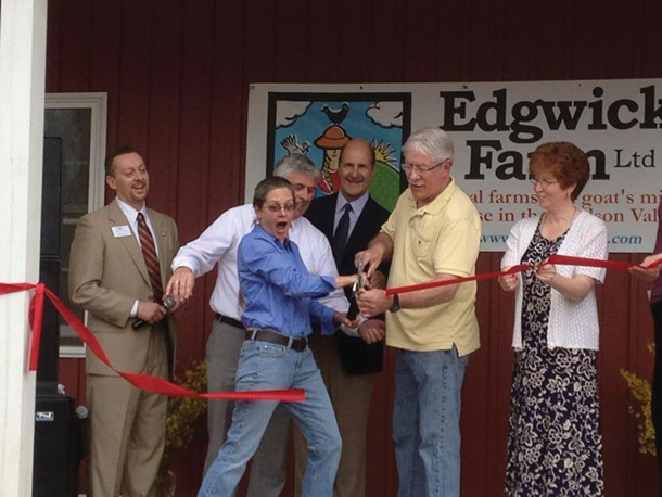 Bill Fioravanti of the Orange County Chamber of Commerce, Talitha Thurau, co-owner of Edgwick Farm, NYS Commissioner of Agriculture Darrel Aubertine, Dan Jones, co-ownerof Edgwick Farm, and Mary Beth Kraftt, Assistant Supervisor, Town of Cornwall, celebrating the opening of Edgwick Farm's microdairy and creamery on March 21.