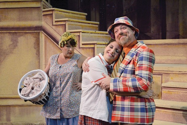 "Bill Ross (Edna), Esme Hyman (Tracy), and David Foster (Wilbur) star in the Up In One production of ""Hairspray"" this month at the Center for Performing Arts at Rhinebeck. Photo: Joanne Contreni"