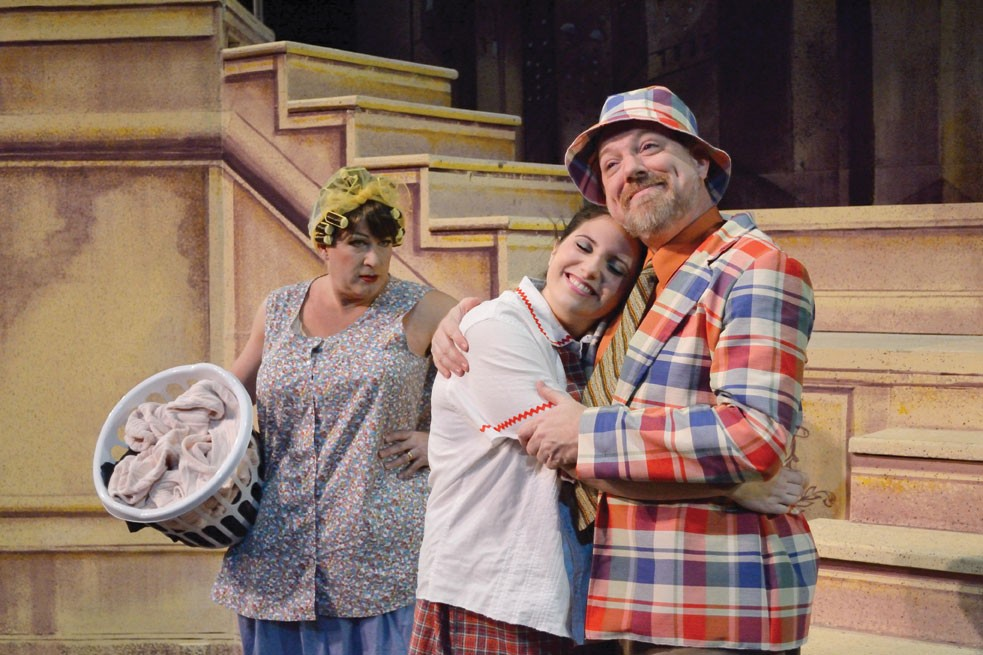 """Bill Ross (Edna), Esme Hyman (Tracy), and David Foster (Wilbur) star in the Up In One production of """"Hairspray"""" this month at the Center for Performing Arts at Rhinebeck. Photo: Joanne Contreni"""