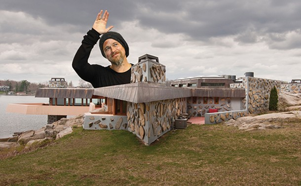 Brad Pitt at his Petra Island home.