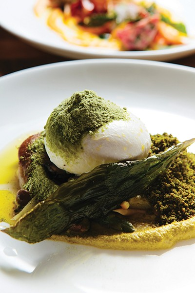 Burrata served with asparagus, morels, ramps, and asparagus mustard - THOMAS SMITH