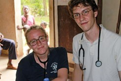 Caitlyn Anderson '12 and David Bridgman-Packer '12 take vitals at a one-day medical clinic in Fiervil, Haiti, June 2011.