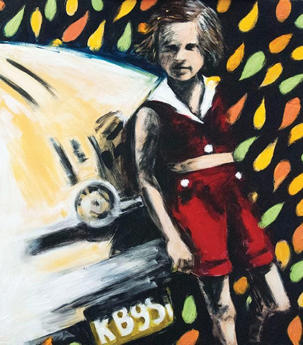 "Cam's Caddy, Kathleen MacKenzie, acrylic on wood panel, 18"" X 16"", 2013. - KATHLEEN MACKENZIE"