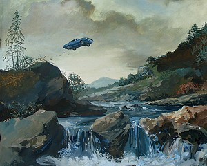 Car Jump, a gauche painting by Zohar Lazar, whose work will be showing at the Hudson Opera House through December 7.