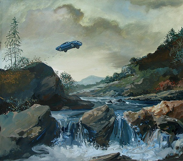 Car Jump, a gauche painting by Zohar Lazar, whose work will be showing at the Hudson Opera House through December 7. - ZOHAR LAZAR