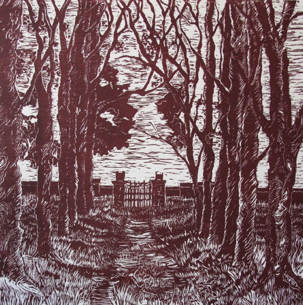 """Carol Slutzky-Tenerowicz, """"Jack's Lawn,"""" linocut, 12"""" x 12"""", 2010."""