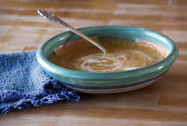 Carrot soup with crème fraîche. - PETER BARRETT