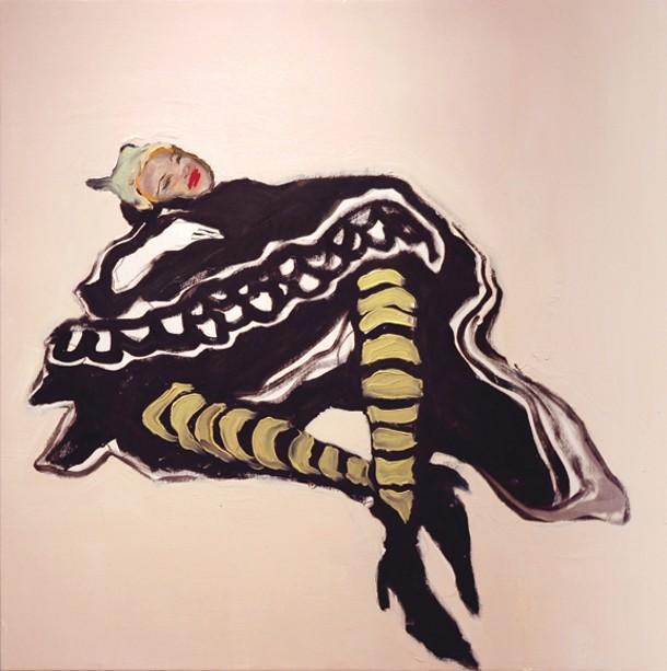 """Catherine Welshman, Woman in Black Dress, oil on wood panel, 24"""" x 24""""."""