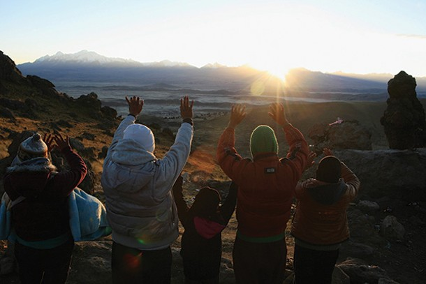 Celebrating the rise of the sun on the winter solstice outise La Paz, Bolivia. - REUTERS/DAVID MERCADO