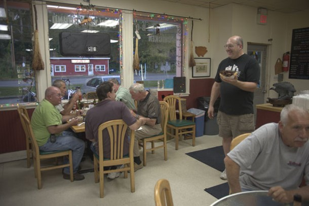 Chatting with customers inside the restaurant. - ROY GUMPEL
