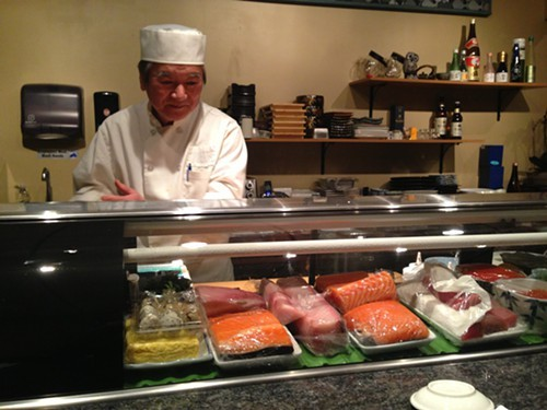 Chef Makio Idesako at the Sushi Bar at Sushi Makio