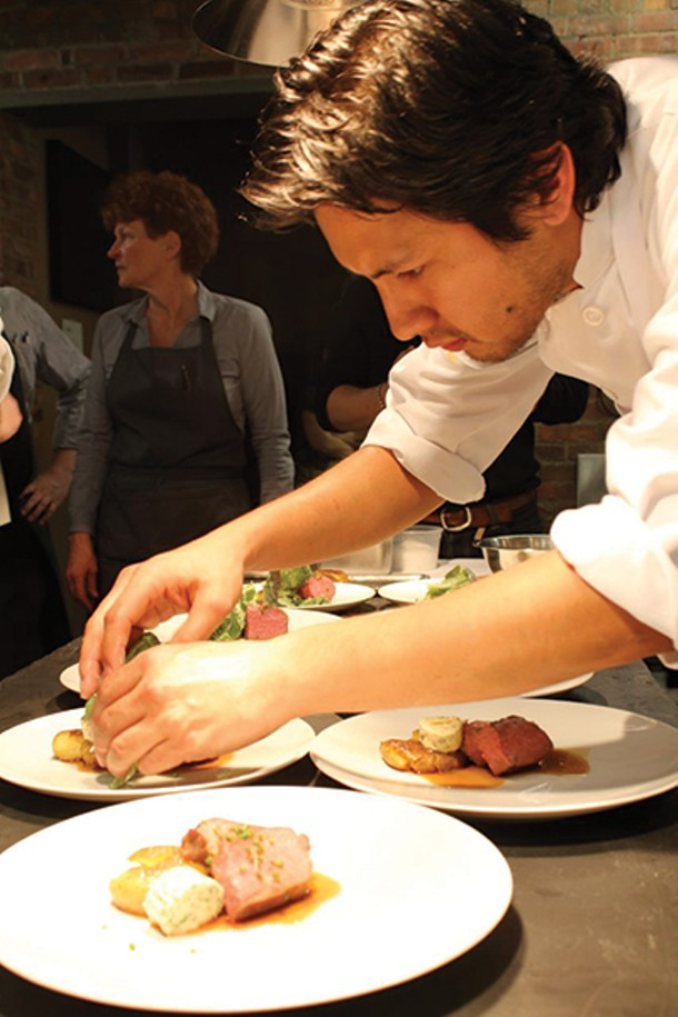Chef X participant Danny Studwell, sous chef at Bell & Anchor in Great Barrington, MA, at The Crimson Sparrow in Hudson on April 7.