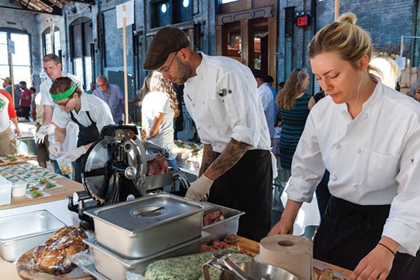 Chefs prepare ramp-based dishes at the third annual Ramp Fest at the Basilica Hudson on - May 4.