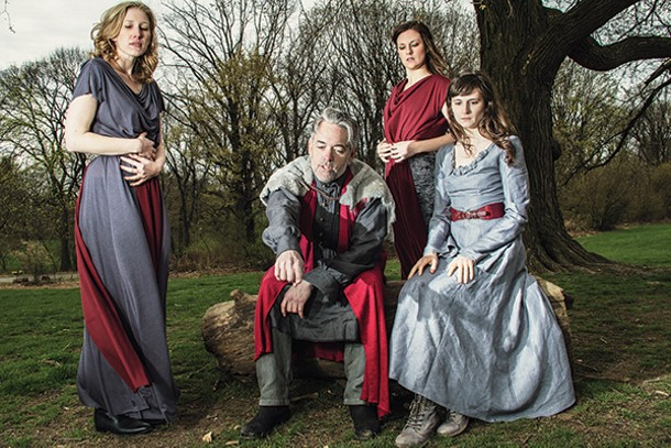 "Chiara Motley, Stephen Paul Johnson, Eleanor Handley, and Jessica Frey - in ""King Lear"" at the Hudson Valley Shakespeare Festival. - TRAVIS MCGEE"