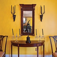 Kingston's First Mini-Mansion Chippendale Chairs, 19th-century French Bronze wall sconces, 1840s NY mirror, Hepplewhite server gift from Elizabeth Thompson. Deborah DeGraffenreid
