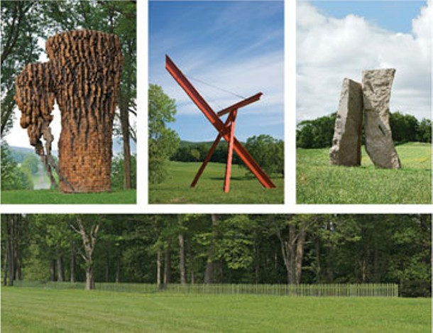 Clockwise from upper left: Ursula von Rydingsvard, LUBA; Mark di Suvero, Old Grey Beam; Darrell Petit, Kiss; Alyson Shotz, Mirror Fence. - JERRY L.  THOMPSON