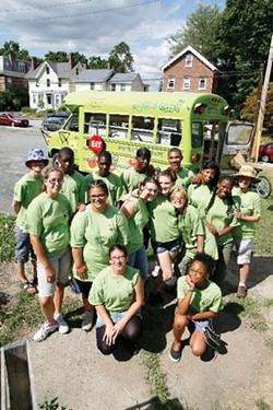 Common Greens mobile farmers' market at the kick-off event for their second season on July 9. A partnership between Common Ground Farm and the Green Teens Community Gardening Program, Common Greens brings affordable, fresh produce to Beacon residents. - JOHN WALDIE