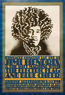 Concert poster for Jimi Hendrix Experience at the Shrine Auditorium, February 10, 1968; from the collection of David Swartz.